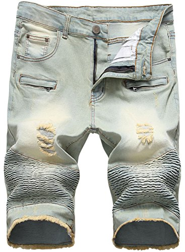 HENGAO Men's Destroyed Moto Biker Denim Shorts Ripped with Zipper Decoration, 1745 Vintage Blue, W28 ()