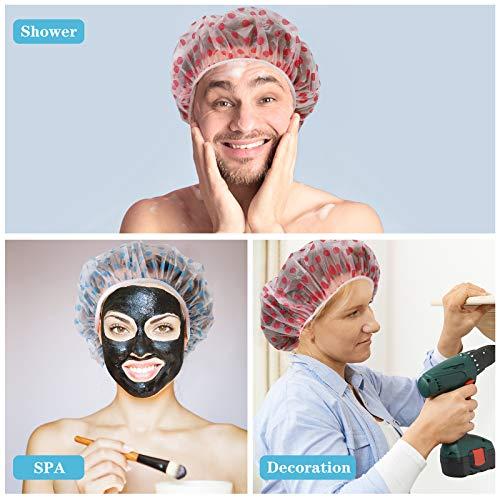 10 Pcs Shower Caps, Waterproof EVA Shower Caps for Women/Men, Reusable Elastic Bathing Hair Cap for Beauty Spa Salon Home Hotel Travel Use Dot Printed Bath Caps (5pcs Red &5pcs Blue)