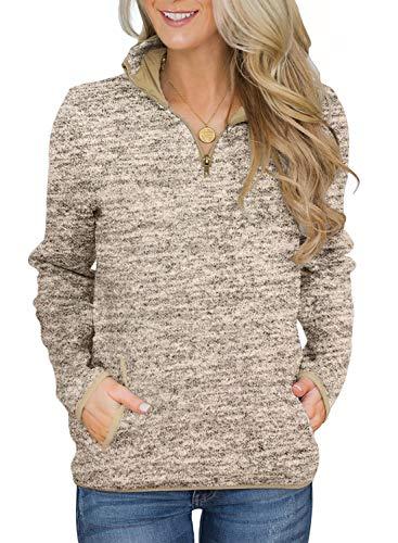 Aleumdr Women 1/4 Zipper Pullover Sweatshirt Long Sleeves High Collar Autumn Tops with Pockets Khaki Medium 8 10