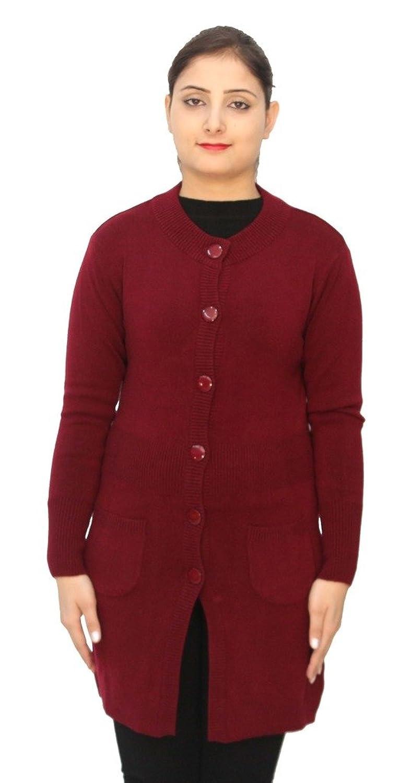 Romano Basic rot 100% Wolle lange Länge warm Winter Pullover Strickjacke für Frauen