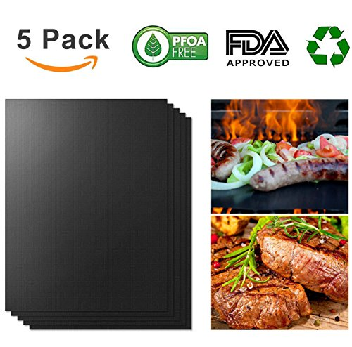 Teletrogy Grill Mat 100% Non-stick BBQ Grill & Baking Mats - FDA-Approved, PFOA Free, Reusable and Easy to Clean - Works on Gas, Charcoal, Electric Grill and More - 15.7 x 13 Inch 5 pack by Teletrogy