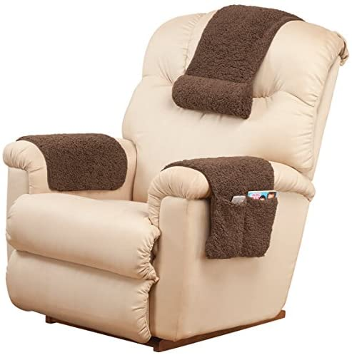 Oakridge Miles Kimball 3 Piece Deluxe Set Sherpa Covers For Recliner Chair Armchair Cover Caddy 23 L X 14 5 W Standard Armrest Cover 23 L X 14 5