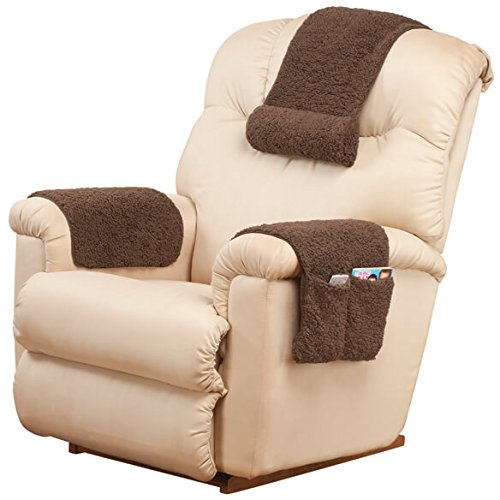 OakRidge Miles Kimball 3-Piece Deluxe Set Sherpa Covers for Recliner Chair Armchair Cover Caddy 23
