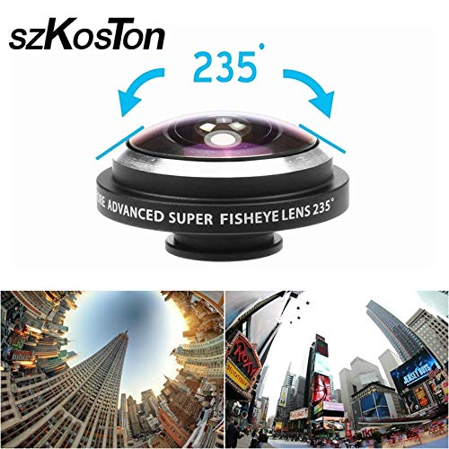 Mobile Phone Lenses - Universal 235 Degree Super Fish Eye Mobile Phone Camera Lenses for iPhone Lens Super Wide Angle HD Metal Phone Clip-on Fisheye - by SINAM - 1 PCs
