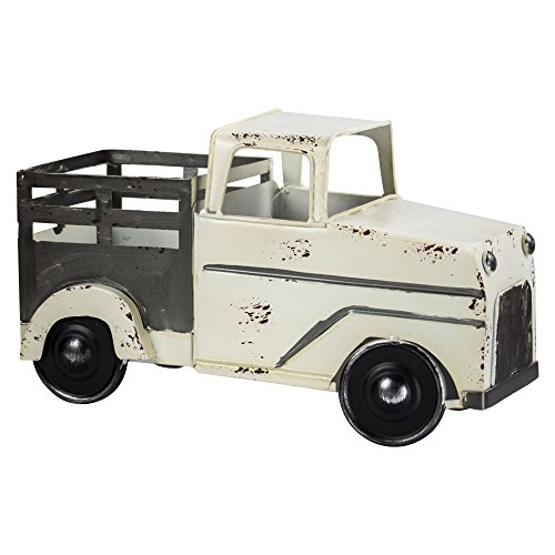 American Art Décor Metal Truck Table Top Decor Vintage Country Farmhouse Style Accessory - White
