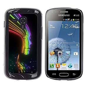iKiki Tech / Estuche rígido - Rays Rainbow Black Lady Woman Girl - Samsung Galaxy S Duos S7562