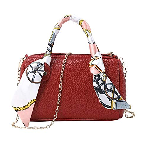Dongtu Fashion Women Zipper Handbag Silk Scarf Leather Metal Chain Shoulder Bag Shoulder Bags