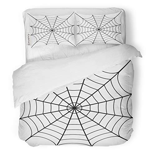 Semtomn Decor Duvet Cover Set Twin Size Spider of Cobweb Spiderweb Halloween Net Haloween Pattern Network 3 Piece Brushed Microfiber Fabric Print Bedding Set Cover]()
