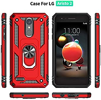 LEMAXELERS LG Aristo 2 Case Shockproof Duty Dual Layer Case with 360 Degree Rotating Ring Holder Kickstand Armor Magnetic Car Mount Protective Cover for LG Aristo 3 X210 Black AC K8 2018