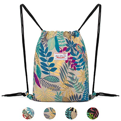 WANDF Drawstring Backpack String Bag Sackpack Cinch Water Resistant Nylon for Gym Shopping Sport Yoga (Grey Leaf 6035)