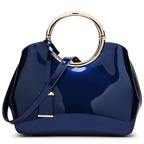 Tout Sac Vernis Shopping Mode 22 10 5 Mariage Femmes Bleu Taille Mauea 28 Sac Elegant CM Cuir Soirée Bandoulière Fourre Sac Main a Owxd4q