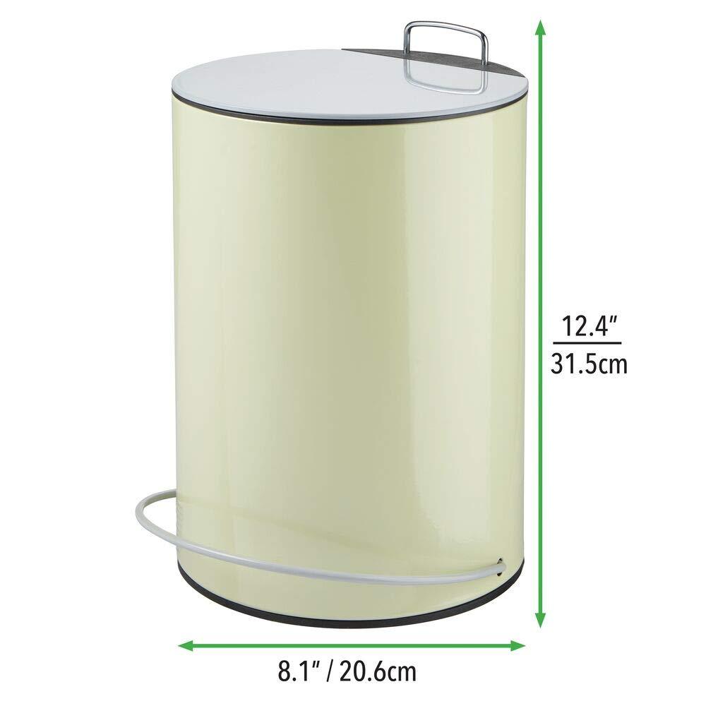 cocina u oficina mDesign Cubo de basura con pedal y tapa Perfecto como caja para maquillaje o como papelera de ba/ño morado y gris Contenedor de residuos de acero de 5 litros