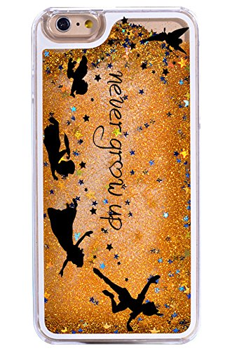 iPhone 7 Plus, Dynamic Hard Case Glitter Bumper for Apple Clear Cover - Never Grow Up Quotes from Peter Pan Tinkerbell (Disney Tinkerbell Glitter)
