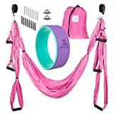 Summerease Yoga Swing/Hammock and Yoga Wheel Set: Antigravity Trapeze Includes 2 Hanging Straps and Hardware. Bonus 12X5 Dharma Wheel, Perfect for Inversion and Flexibility (Yoga Swing and Wheel)