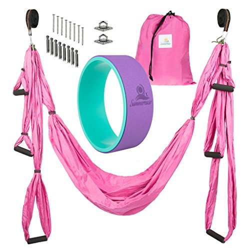 (Summerease Yoga Swing/Hammock and Yoga Wheel Set: Antigravity trapeze includes 2 hanging straps and hardware. Bonus 12X5 Dharma Wheel, Perfect for Inversion and Flexibility (Yoga Swing and wheel))