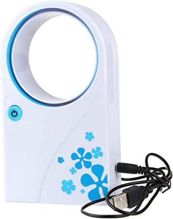 Beauty7 Mini Ventilador Sin Aspas Portátil De Mano Alimentación USB con Pilas (Azul y Blanco): Amazon.es: Hogar