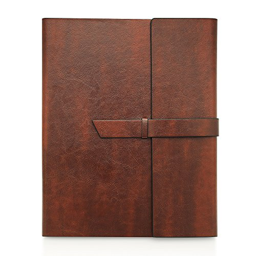- Gallaway Leather Padfolio Portfolio Folder -fits Letter Legal A4 Notebooks Notepads - Dark Chocolate