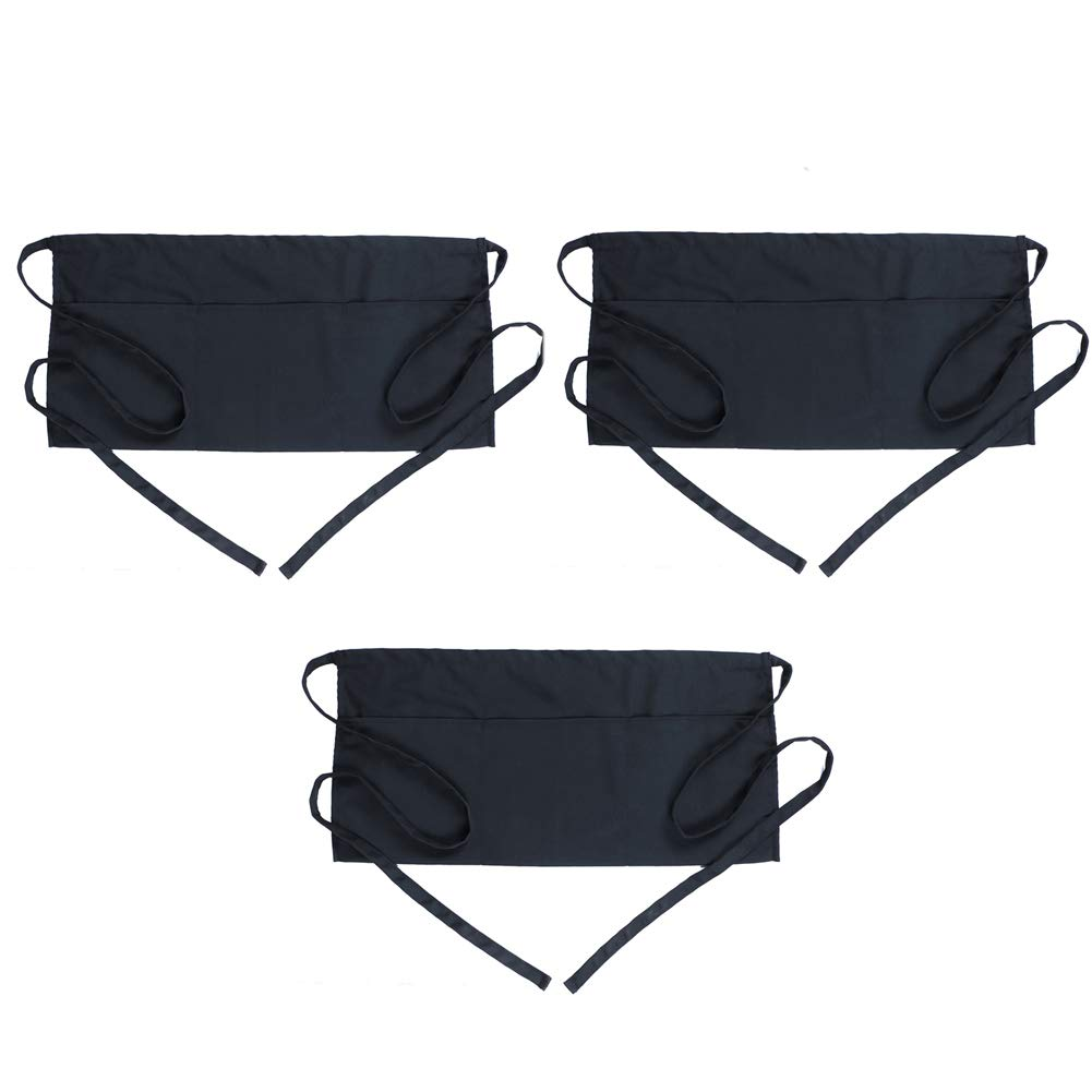 "BOHARERS Server Aprons with 3 Pockets 3 Pack - Waist Apron for Women Men Waitress Waiter Black Half Apron Kitchen Restaurant, 24"" X 12"" for Holding Server Book Guest Check Card Holder"