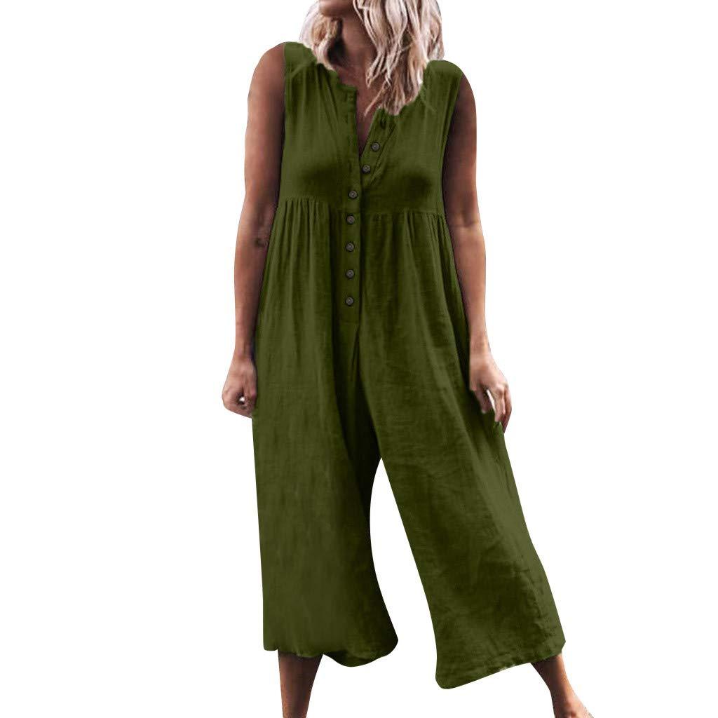 NREALY Jumpsuit Womens Casual High Waist Cotton Linen Button Romper Sleeveless Solid Jumpsuit