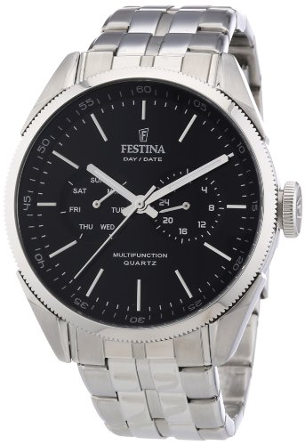 Festina Men's Multifunction F16630/8 Silver Stainless-Steel Analog Quartz Watch with Black Dial