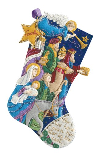 Bucilla 18-Inch Christmas Stocking Felt Appliqué Kit, 86055 The Procession
