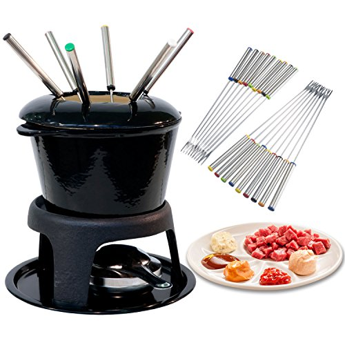 TecUnite 18 Pieces Stainless Steel Fondue Forks with Heat Resistant Handle for Cheese Chocolate Fondue Roast Marshmallows Meat, 9.5 Inch by TecUnite (Image #1)