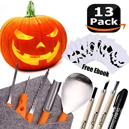 Powerful 12 PCS Pumpkin Carving Tools Kit Knife Set for Kids Professional DIY Halloween Jack-o-Lantern Pumpkins Candles Decorations-Most Useful Carving Essentials