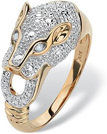 White Diamond Accent Two-Tone 18k Gold over .925 Sterling Silver Panther Ring