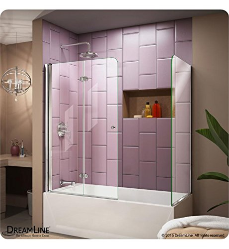 Return Panel (DreamLine Aqua Fold 56-60 in. W x 30 in. D x 58 in. H Frameless Bi-Fold Tub Door with Return Panel in Chrome, SHDR-3636580-RT-01)