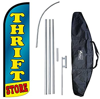 """THRIFT STORE"" 12-foot KING SIZE Complete Swooper Feather Flag and Case Set...includes 12-foot Flag, 15-foot Pole, Ground Spike, and Carrying/Storage Case"