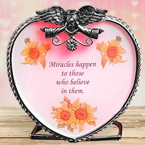 - BANBERRY DESIGNS Angel Tea Light Candle Holder - Miracles Happen to Those Who Believe in Them - Glass Heart Design with Angel Wings- Get Well Soon Gifts for Women