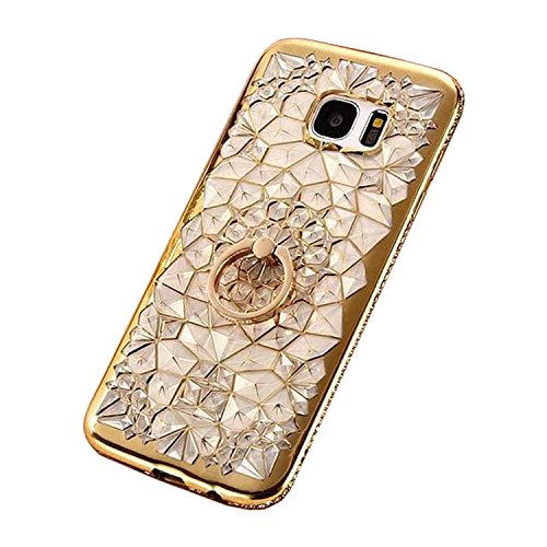 Galaxy S7 Edge Case Cover, GIZEE Luxury Sparkle Bling Crystal Clear 3D Diamond Ring Stand Soft TPU Protective Phone Shell for Samsung Galaxy S7 Edge - Cell Swarovski Phone Crystal Charm
