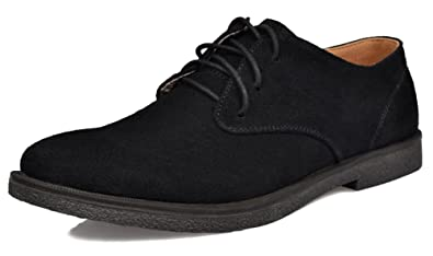 Fangsto Men's Fashion Suede Oxfords Flat Shoes Lace-ups UK Size 5 Black