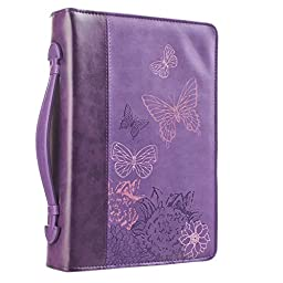 Purple Butterflies Bible / Book Cover - 2 Corinthians 5:17 (Large)