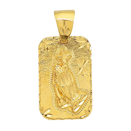 The Bling Factory Large 21mm x 34mm 14k Gold Plated Diamond-Cut Praying Hands - Hands 14k Charm Praying