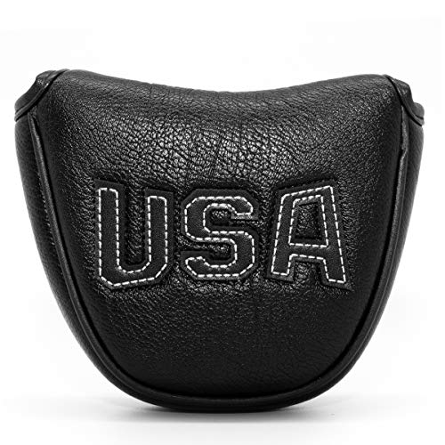Golf Putter Cover,Golf Club Head Covers Mallet Putter Headcover Synthetic Leather Golf Mallet Putter Cover with Magnetic Closure & USA Embroidery for Scotty Cameron Odyssey Taylormade (Covers Mallet Putter Ping)
