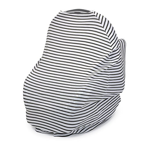 Striped Car Seat Cover - ModLittles Stretchy Organic Cotton Carseat Canopy & Nursing Cover in Dark Gray White Stripe, 5 in 1 Design, Perfect Baby Gift