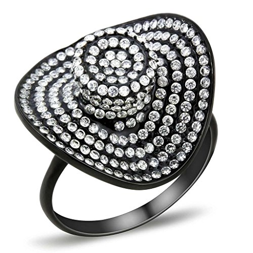 ia Vintage Black Cocktails Rings Floppy Hat Style Cluster Statement Ring (5) ()