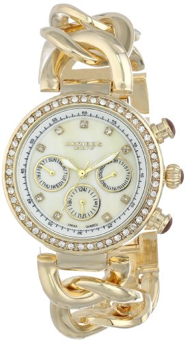 Akribos XXIV Women's AK640YG Lady Diamond Gold-Tone Chain Link Watch