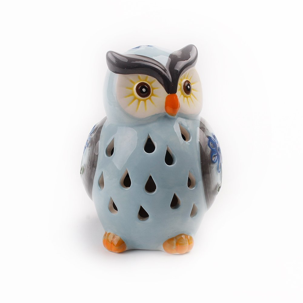 ASTRAEUS Owl Light Decor Solar Animal Light Led Owl Light Landscape Path Light Color Changing for Park/Patio/Deck/Yard/Home/Pathway Grey Blue