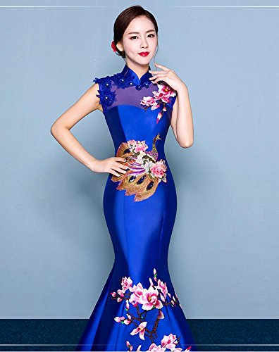 Königsblau Kleid Beauty Emily Stickerei Cheongsam Satin Up Meerjungfrau Dicke Lace zq8TOZnz