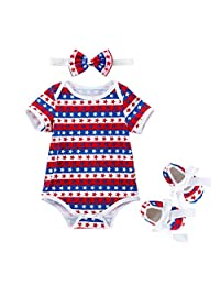 ��������Toddler Baby Girls 4th Of July Stars Print Romper+Headbands+Shoes Set Outfit