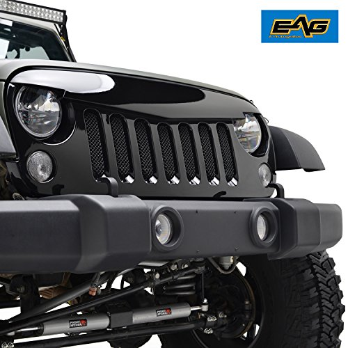 EAG 2007-2017 Jeep Wrangler Rubicon Sahara Sport JK Angry Bird Grille Glossy Black Packaged Grid Grill With Stainless Steel Wire Mesh Insert