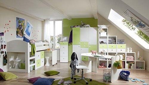 lifestyle4living Jugendzimmer 2-t.g in Alpinweiß mit Abs. in Apfel-Grün, 3-TRG. Kleiderschrank B. 135 cm, Hochbett mit Schreibtisch und Kommode B: 204 cm