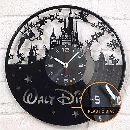 Disney Wall Clocks - Disney Clock Vinyl Record Wall Clock Disney Castle Clock Wall Decor Cartoon Kids Walt Disney Gift Disney World Disney Nursery - Disney Vinyl Clock - Disney Gift Idea - Disney Wall Decor - Black