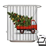Christmas Hotel Quality Shower Curtain Liner Red Retro Style Farm Truck and Big Christmas Tree with Tinsel Balls Candy Eco Friendly,Rust Proof Grommets Holes White Red Green72×84'