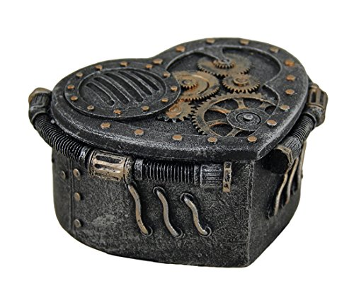 Zeckos Metallic Heart Shaped Steampunk Trinket Box (Black Box Brass Trinket)