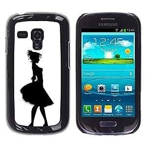 iKiki Tech / Estuche rígido - Girl Relief Contour Black White - Samsung Galaxy S3 MINI NOT REGULAR! I8190 I8190N