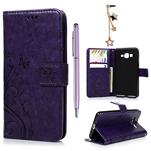 Galaxy Grand Prime G5308/G530H Case- MOLLYCOOCLE Stand Wallet ID Holders Emboss Vintage Flower Flip Folio TPU Soft Bumper PU Leather Skin Cover for Samsung Galaxy Grand Prime G5308/G530H -Purple