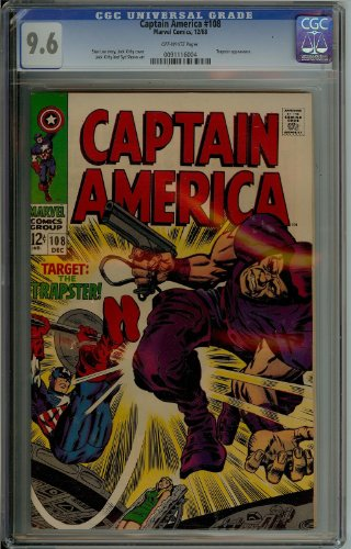 Captain America #108 Cgc 9.6 Stan Lee and Jack Kirby 1968 From The Avengers